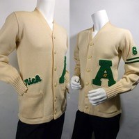 Mens Vintage 60s Letterman Sweater Cream Virgin Wool / 1961 / Nick - $85.00 - Vintage Items and Unique Gifts by OneTrickChassis