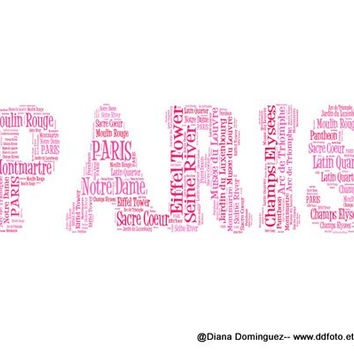Word Art Paris Word, Typography, Places in Paris, wall decor, Parisian Places, Eiffel Tower, Louvre, Seine, Paris Decor