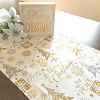 Gold and Silver Trees Christmas Table Runner Metallic Snowflakes Peace Merry Christmas Buffet Reversible