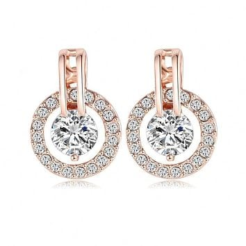 Luxury Circle Earrings Jewelry 18K Rose Gold Plate