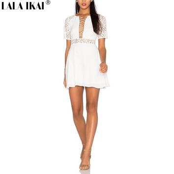 2018 LALA IKAI Womens Lace Sexy Mini Dress with Drawstring Fit and Flare White Flower Lace Dress for Female QWA1890-45
