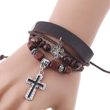 New 4 Layers Charm Bracelet for Women Men Leather Rope String Beads Jesus Christ Cross Fashion Jewelry 17cm Adjustable Handmade