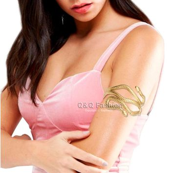 Egypt Cleopatra Swirl Snake Arm Cuff Armlet Armband Big Wide Bangle Bracelets For Women