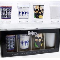 ROCKWORLDEAST -The Beatles, Glass Mug Set, Album Covers, 4 Pack