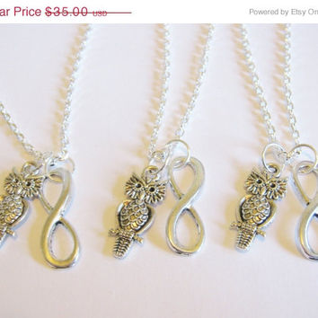 Summer Sale Save15% 3 Owl Infinity  Best Friend Necklaces BFF