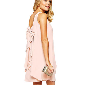 Sleeveless Layered Dress with Bow