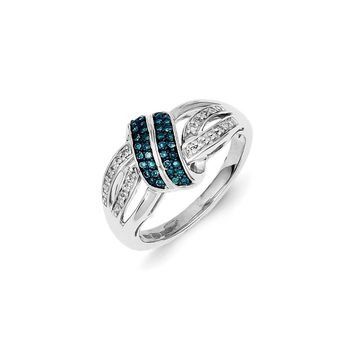 1/4 Ctw Blue & White Diamond Twisted Sterling Silver Ring