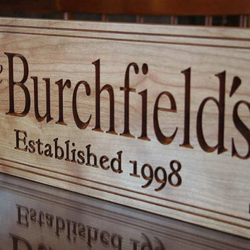 5th Anniversary Sign, Established Sign, Carved Wooden Sign, Important Date Sign, Personalized Wooden Family Name Sign Cherry BB