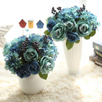 The rose flower decoration plant simulation foreign trade silk flower bouquet [9571277837]