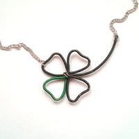Four Leaf Clover Necklace, Wire Wrapped Four Leaf Clover, Green Clover Pendant, Shamrock Necklace, Good Luck Necklace, Irish Clover Necklace