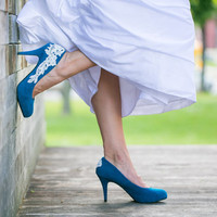 Wedding Shoes - Teal Blue Bridal Shoes/Wedding Heels with Ivory Lace. US Size 6.5.
