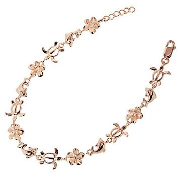 Sterling Silver Plumeria Honu Dolphin Bracelet Pink Gold Plated