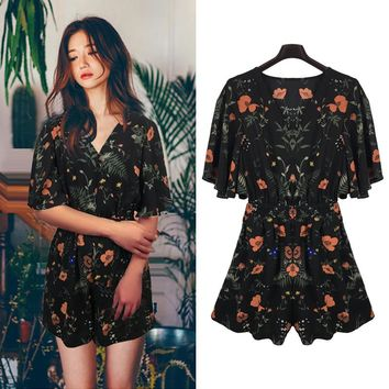 Summer New Style V-Neck Chiffon Allover Playsuits Fashion Women's Clothing Sexy Printed Jumpsuits