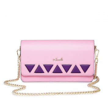 Pink Clutch With Purple Triangles and Gold Chain
