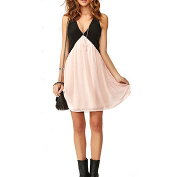Black And Pink V Neck Chiffon Skater Dress