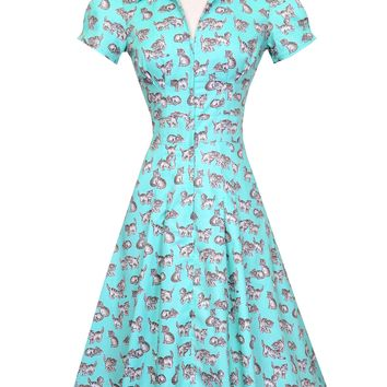 Derby Swing Dress in Turquoise Kitten Print