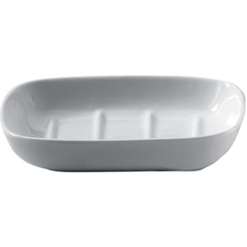 DWBA Countertop Soap Dish / Soap Saver Holder Tray, Porcelain White