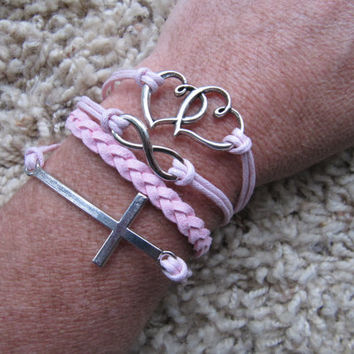 Made in the USA - Pink Double Heart, Sideways Cross, Infinity White Friendship Charm Bracelet