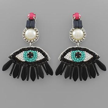 Beaded Eye Drop Earring