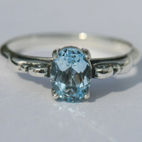 Blue Topaz Ring , Antique Style Blue Ring,  Size 8 Ring, Blue Sterling Silver RIng, Gemstone Ring, December Birthstone Maggie McMane Designs