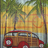 Bamboo door curtain with Woody car scene