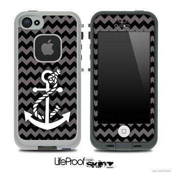 Gray/Black Colored Chevron and White Anchor V3 Skin for the iPhone 5 or 4/4s LifeProof Case