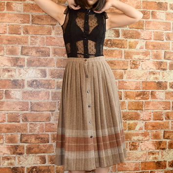 Vintage 80s Wool Pleated Skirt