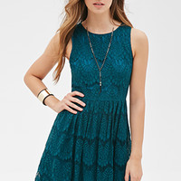 FOREVER 21 Lace Fit & Flare Dress Jade