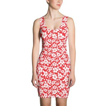 Hawaiian Tropical Hibiscus Red and White Pattern Sublimation Cut & Sew Dress