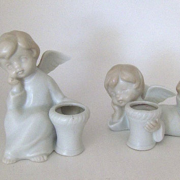 Vintage Candle Holders Porcelain Figurines Angels Candle Holders: Set of Two