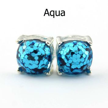 14 Colors Silver Plated Kate Glitter Studs Earrings Square Spade Ear Button