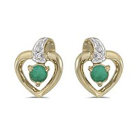 14K Yellow Gold Round Emerald and Diamond Heart Shaped Earrings