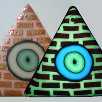 Glow in the Dark Illuminati Eye Pyramid in Red Gold and Ivory EyeGloArts Black light Art NoE71