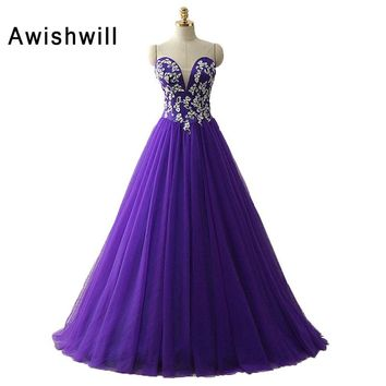 Purple Color Vintage Prom Dresses 2018 Corset Back Ball Gown Party Dress Sleeveless Cheap Tulle Evening Dress for Banquet