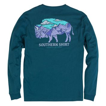 Mountain Buffalo Long Sleeve Tee in Legion Blue by The Southern Shirt Co. - FINAL SALE