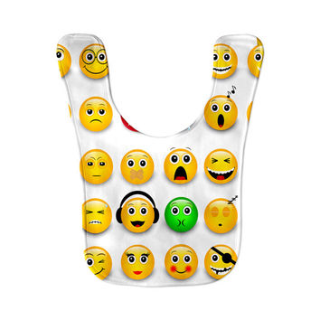 Emoji Overload Emoticon Smiley Happy FacePrint Microfiber Fleece Baby Bib Velcro Closure Baby Gift