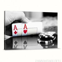 Poker and Casino - Spades - Ace - Cup - Flies Canvas Print | Art Canvas Print | Canvas Painting