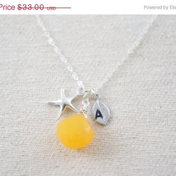 10% OFF Egg yolk yellow chalcedony necklace with sterling silver starfish and personalized leaf, wedding, bridesmaid, bridal gift