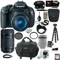Canon EOS Rebel T3i 18MP DSLR Camera & EF-S 18-55mm f/3.5-5.6 IS Type II Lens Kit + Canon EF-S 55-250mm f/4-5.6 IS STM + Accessory Kit