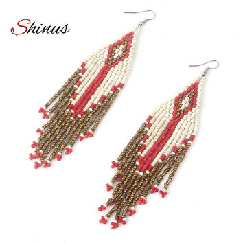 Shinus Earring Boho Statement Tassel Earrings Jewelry Bohemian Women 2017 New Native American Dangle Fringe Ethnic Beadwork Gift