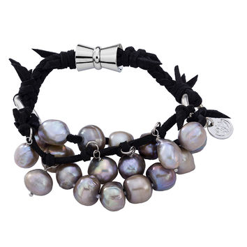 Braided 4 Strand Black Grey Pearls with Magnetic Clasp Bracelet