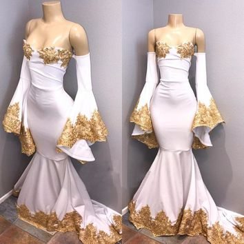 White Mermaid Horn Long Sleeve Evening Dress 2018 Boat Neck Off The Shoulder Gold Lace Arabic Prom Gowns Vestido De Festa Cheap