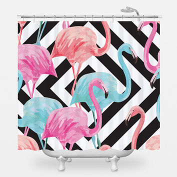 Flamingos over Diamonds Shower Curtain