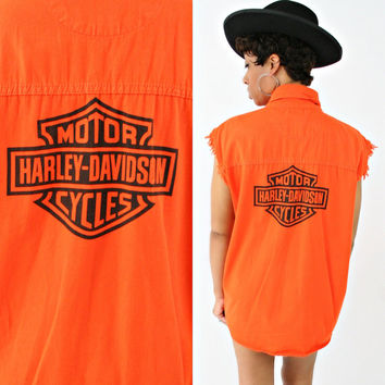 vintage 80s 90s BIKER motorcycle HARLEY DAVIDSON cut off sleeveless shirt