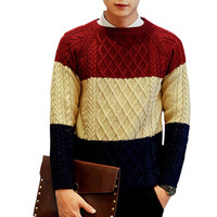 Color Block Paneled Knitted Sweater
