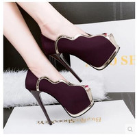 Shoes heel waterproof platform heels sexy shoes nightclub shallow mouth banquet