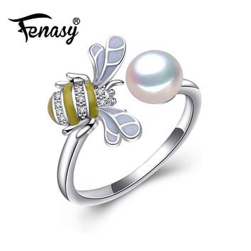 FENASY female ringPearl Adjustable Animal Rings White Pearl Solid 925 Sterling Silver Ring For Women,Fine Jewelry S925 bee rings