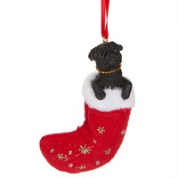 ONETOW Pug in Stocking Christmas Ornament