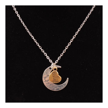 X329 love Valentine's Day love couple of European and American moon necklace ebay jewelry supply   SISTER SILVER