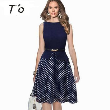 T'O Summer Polka Dot Flare A-Line Sleeveless Belted Chiffon Patchwork Tunic Elegant Work Office Party Fit Vintage Dress 88